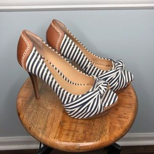 Gianni Bini Sailor Striped Leather Heel Shoes